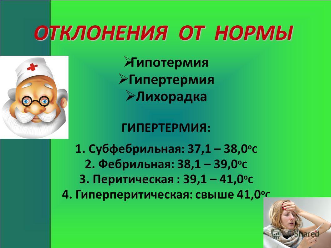 ОТКЛОНЕНИЯ ОТ НОРМЫ Гипотермия Гипертермия Лихорадка ГИПЕРТЕРМИЯ: 1. Субфебрильная: 37,1 – 38,0 С 2. Фебрильная: 38,1 – 39,0 С 3. Перитическая : 39,1 – 41,0 С 4. Гиперперитическая: свыше 41,0 С