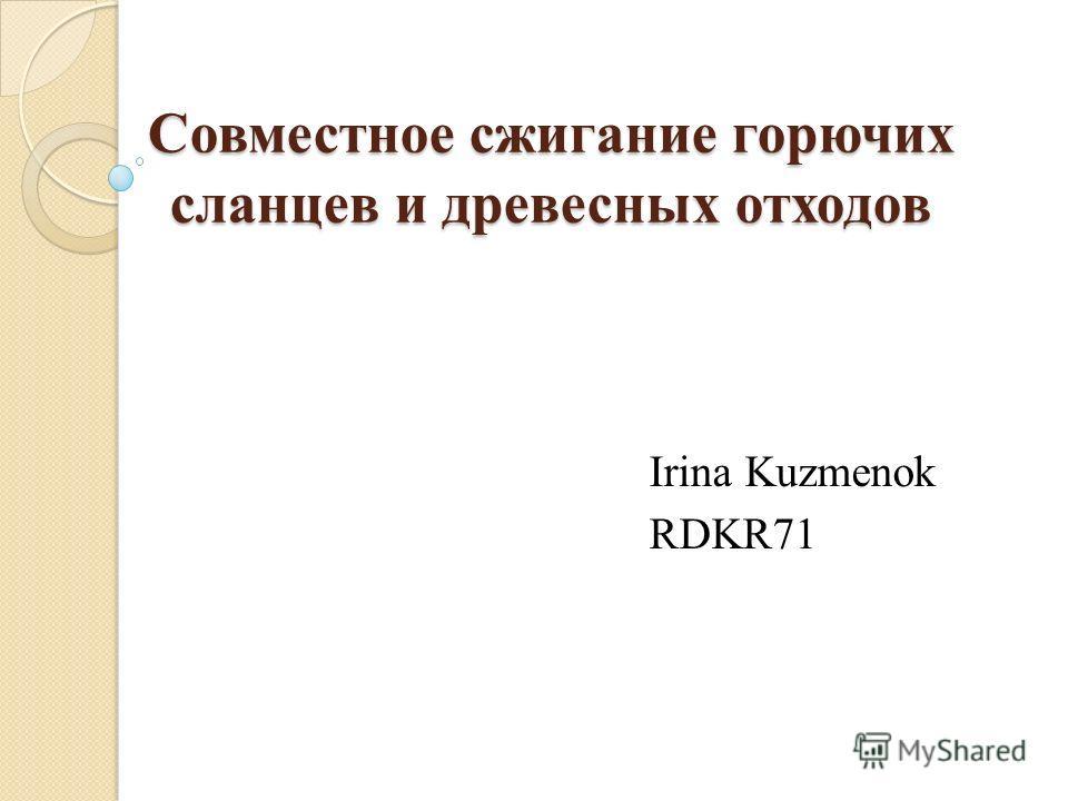 Совместное сжигание горючих сланцев и древесных отходов Irina Kuzmenok RDKR71