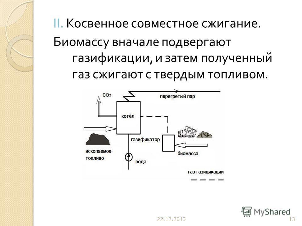 II. Косвенное совместное сжигание. Биомассу вначале подвергают газификации, и затем полученный газ сжигают с твердым топливом. 22.12.201313