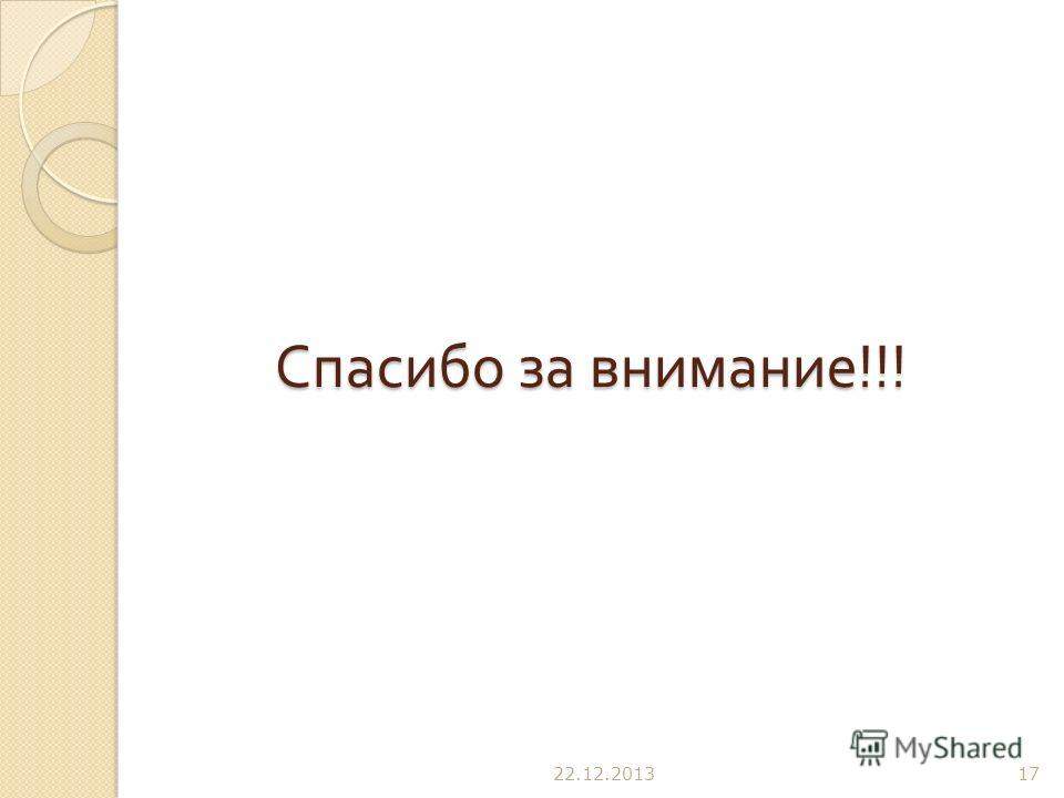 Спасибо за внимание !!! 22.12.201317