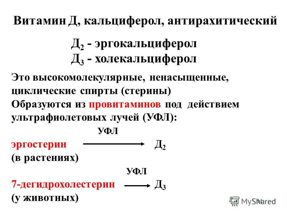 11 Витамин Д, кальциферол, антирахитический Д 2 - эргокальциферол Д 3 - холекальциферол Это высокомолекулярные, ненасыщенные, циклические спирты (стерины) Образуются из провитаминов под действием ультрафиолетовых лучей (УФЛ): УФЛ эргостерин Д 2 (в ра