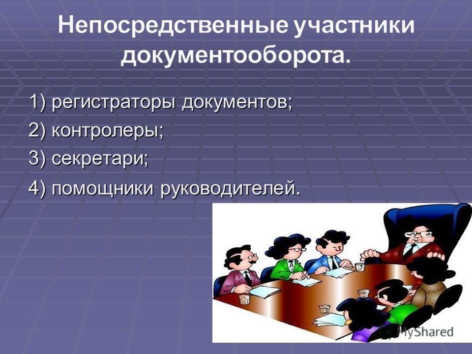 1) регистраторы документов; 2) контролеры; 3) секретари; 4) помощники руководителей.