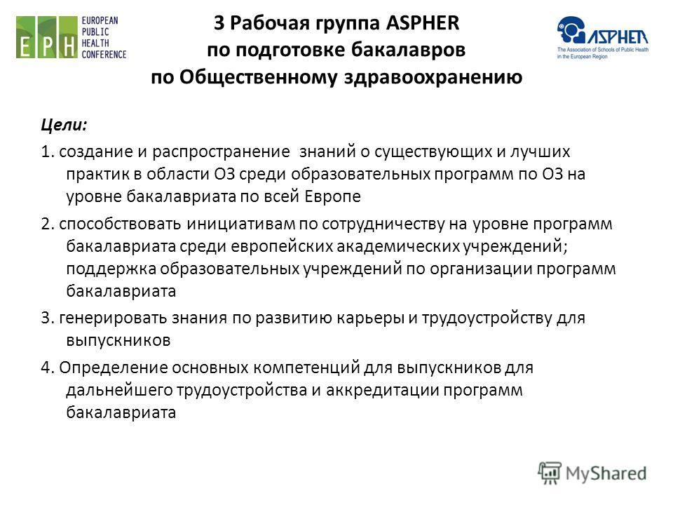 3 Рабочая группа ASPHER по подготовке бакалавров по Общественному здравоохранению Цели: 1. создание и распространение знаний о существующих и лучших практик в области ОЗ среди образовательных программ по ОЗ на уровне бакалавриата по всей Европе 2. сп