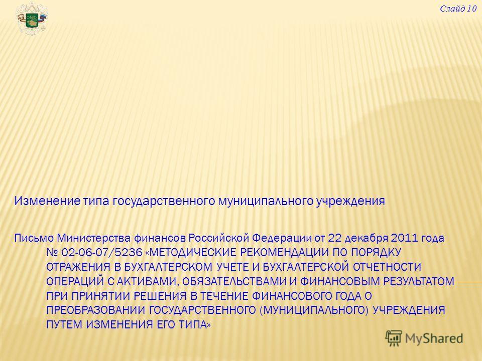 Изменение типа государственного муниципального учреждения Письмо Министерства финансов Российской Федерации от 22 декабря 2011 года 02-06-07/5236 «МЕТОДИЧЕСКИЕ РЕКОМЕНДАЦИИ ПО ПОРЯДКУ ОТРАЖЕНИЯ В БУХГАЛТЕРСКОМ УЧЕТЕ И БУХГАЛТЕРСКОЙ ОТЧЕТНОСТИ ОПЕРАЦИ