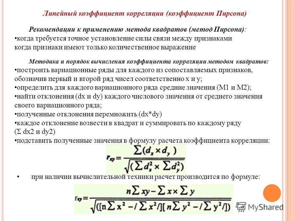 Линейный коэффициент корреляции (коэффициент Пирсона) Рекомендации к применению метода квадратов (метод Пирсона): когда требуется точное установление силы связи между признаками когда признаки имеют только количественное выражение Методика и порядок