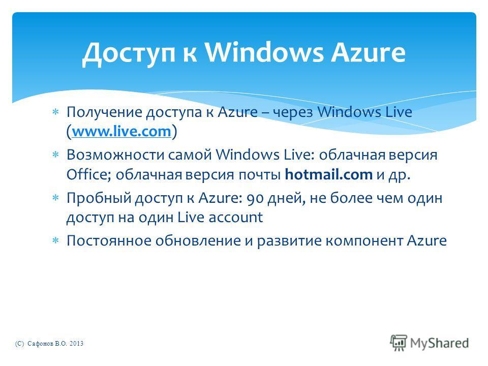 Получение доступа к Azure – через Windows Live (www.live.com)www.live.com Возможности самой Windows Live: облачная версия Office; облачная версия почты hotmail.com и др. Пробный доступ к Azure: 90 дней, не более чем один доступ на один Live account П