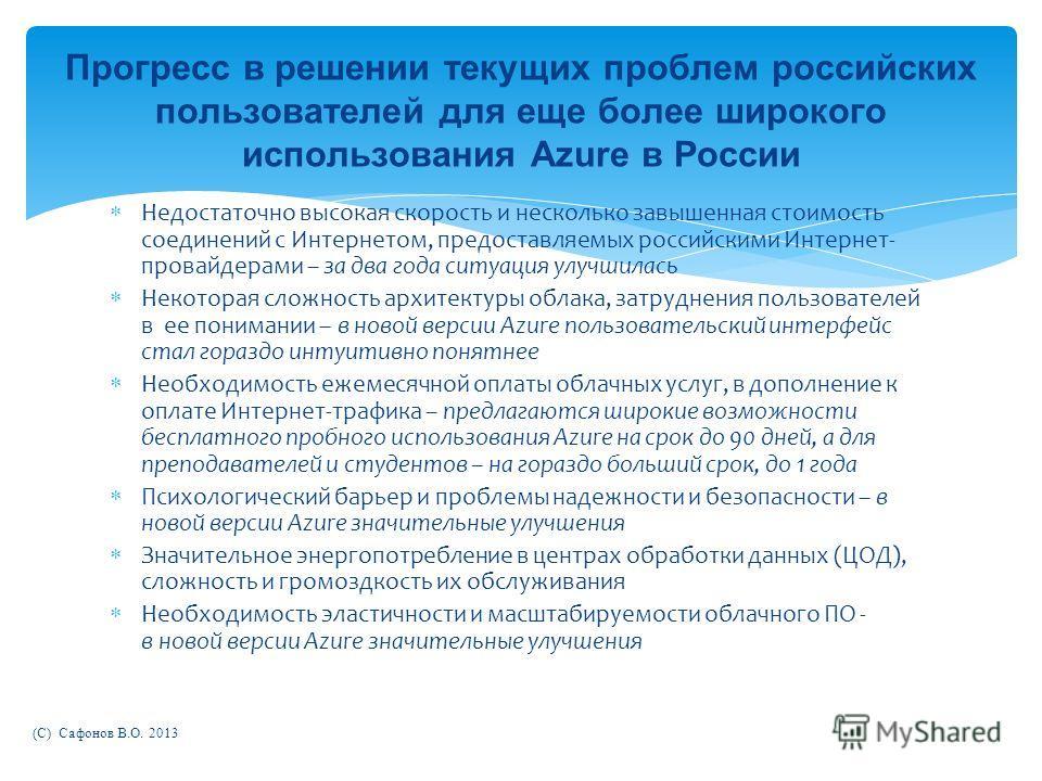 Недостаточно высокая скорость и несколько завышенная стоимость соединений с Интернетом, предоставляемых российскими Интернет- провайдерами – за два года ситуация улучшилась Некоторая сложность архитектуры облака, затруднения пользователей в ее понима