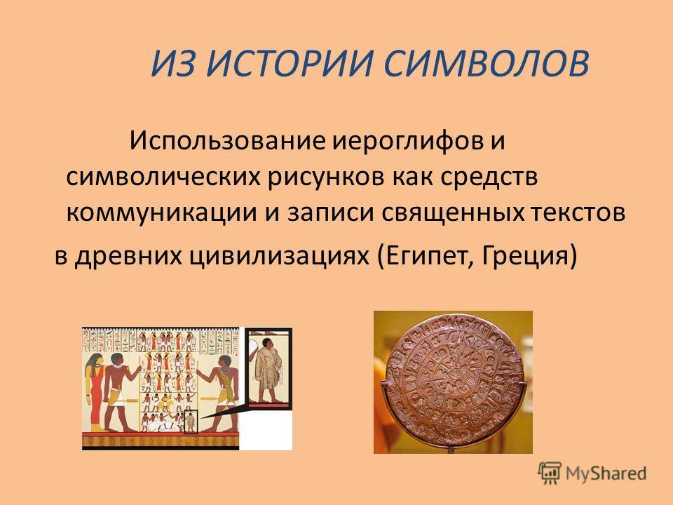 ИЗ ИСТОРИИ СИМВОЛОВ Использование иероглифов и символических рисунков как средств коммуникации и записи священных текстов в древних цивилизациях (Египет, Греция)