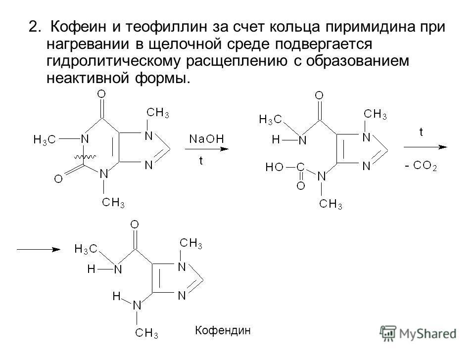 2. Кофеин и теофиллин за счет кольца пиримидина при нагревании в щелочной среде подвергается гидролитическому расщеплению с образованием неактивной формы. Кофендин