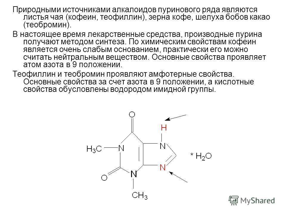 Природными источниками алкалоидов пуринового ряда являются листья чая (кофеин, теофиллин), зерна кофе, шелуха бобов какао (теобромин). В настоящее время лекарственные средства, производные пурина получают методом синтеза. По химическим свойствам кофе
