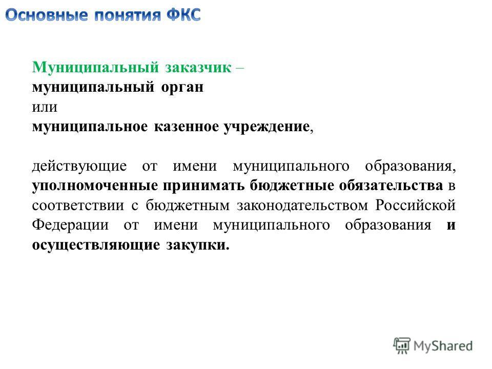 Муниципальный заказчик – муниципальный орган или муниципальное казенное учреждение, действующие от имени муниципального образования, уполномоченные принимать бюджетные обязательства в соответствии с бюджетным законодательством Российской Федерации от