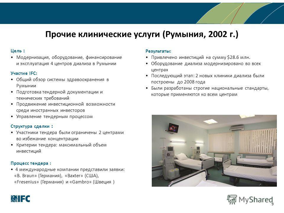 Прочие клинические услуги (Румыния, 2002 г.) 9 Цель Модернизация, оборудование, финансирование и эксплуатация 4 центров диализа в Румынии Участие IFC: Общий обзор системы здравоохранения в Румынии Подготовка тендерной документации и технических требо