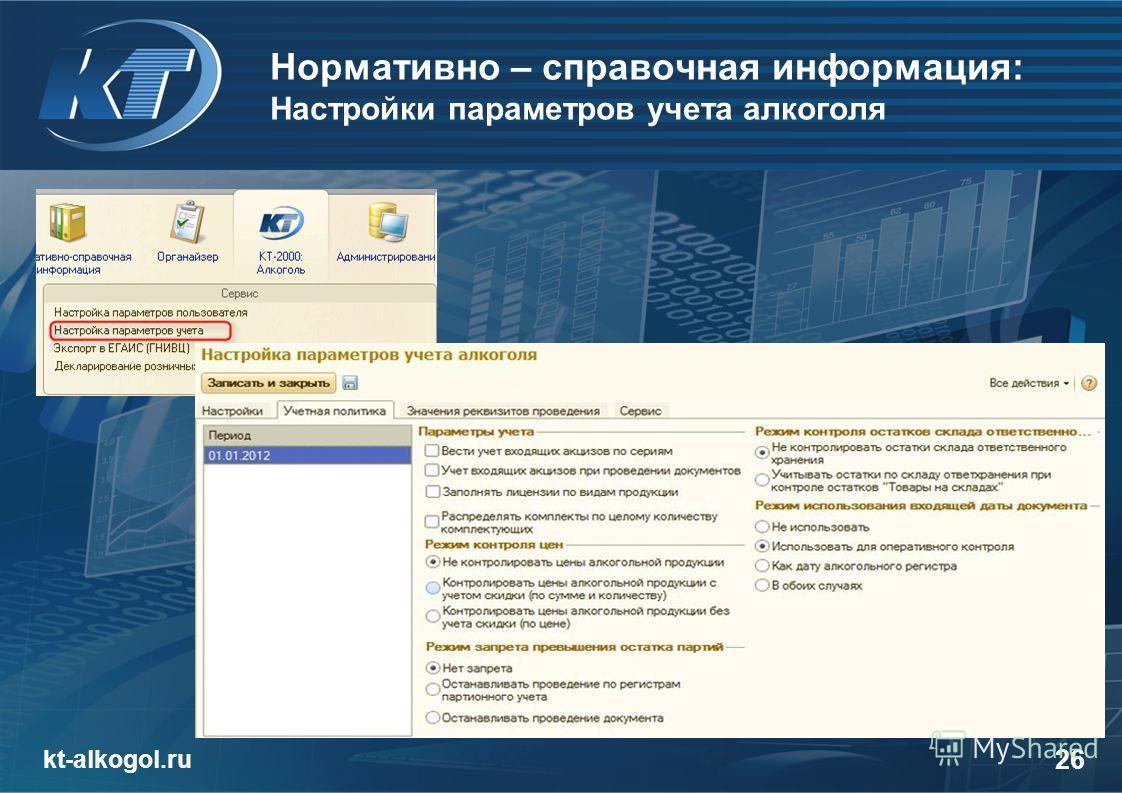 Нормативно – справочная информация: Настройки параметров учета алкоголя kt-alkogol.ru 26