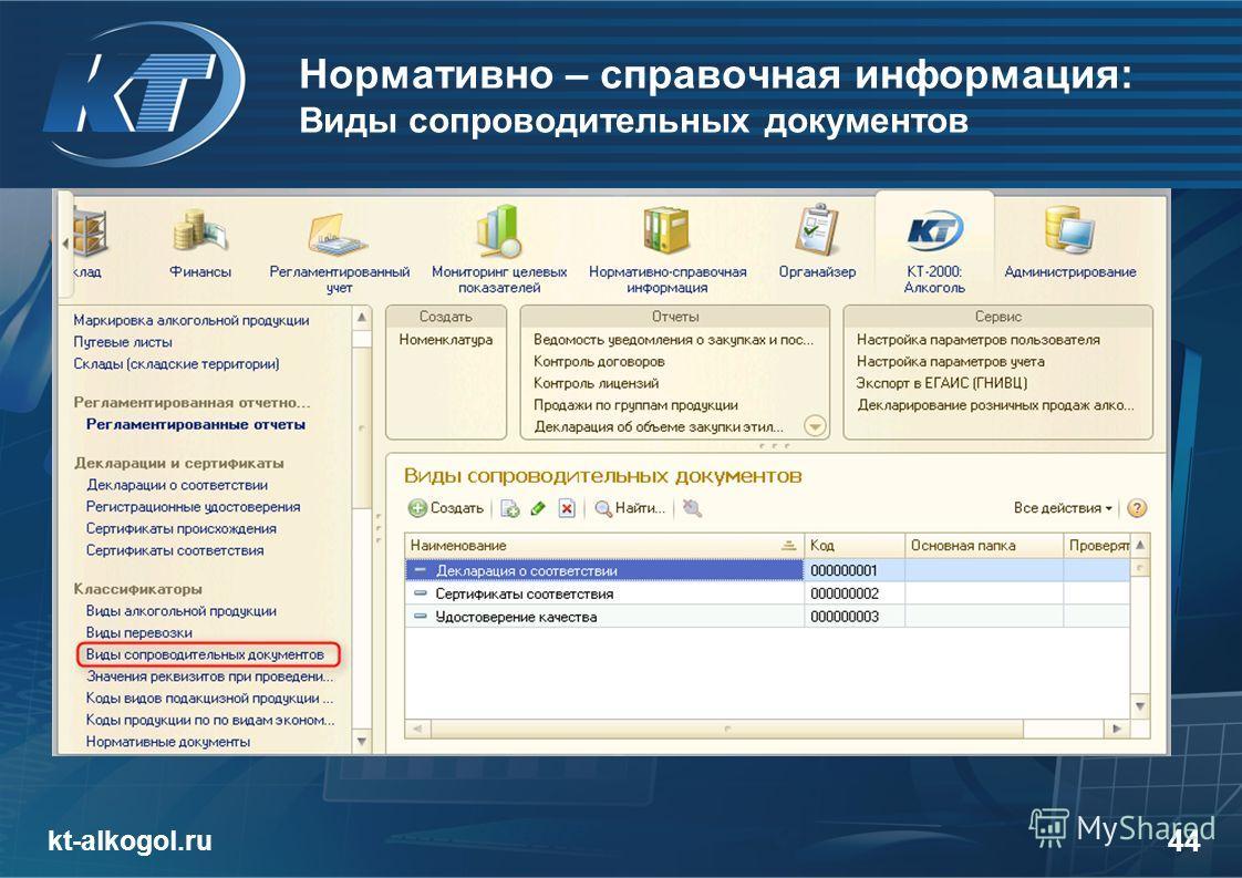 Нормативно – справочная информация: Виды сопроводительных документов kt-alkogol.ru 44 закладка «Алкоголь»