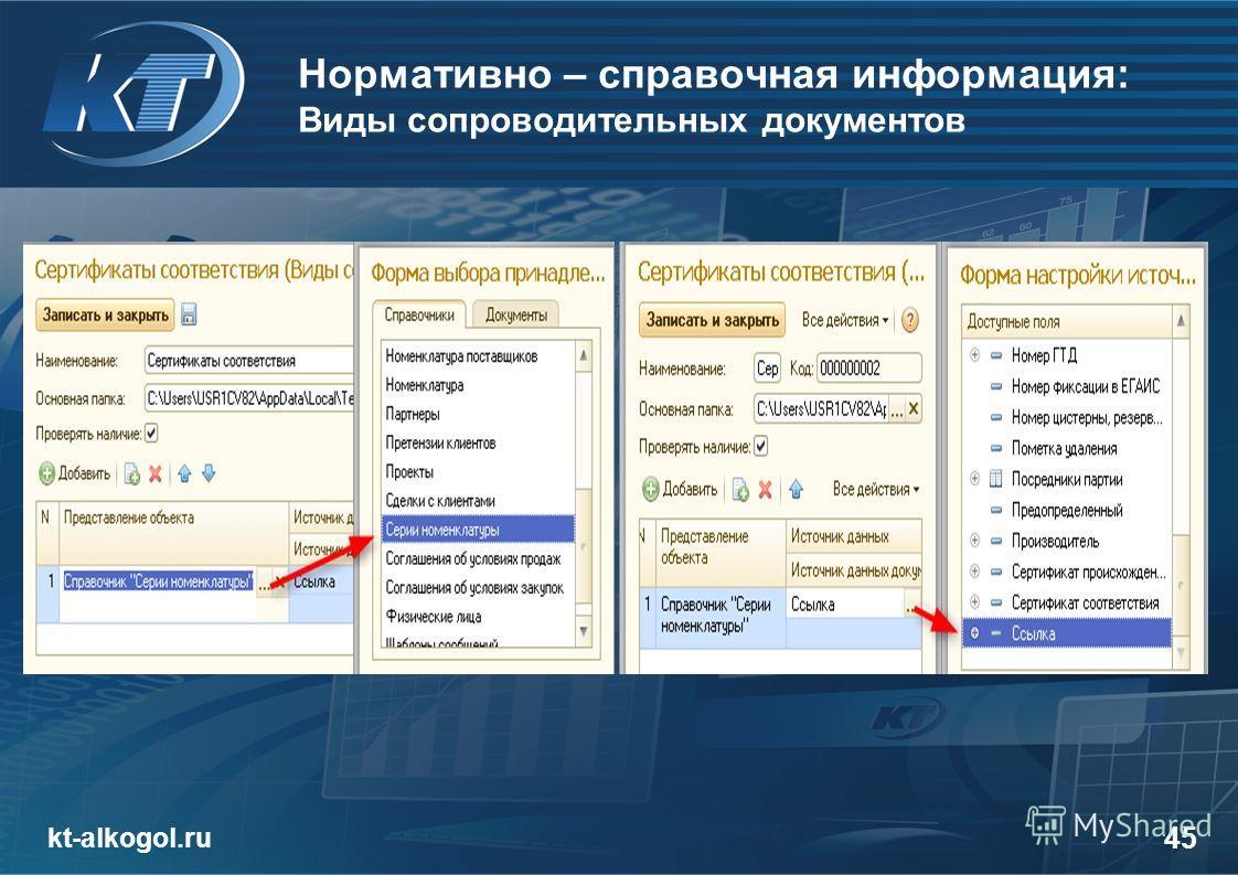 Нормативно – справочная информация: Виды сопроводительных документов kt-alkogol.ru 45