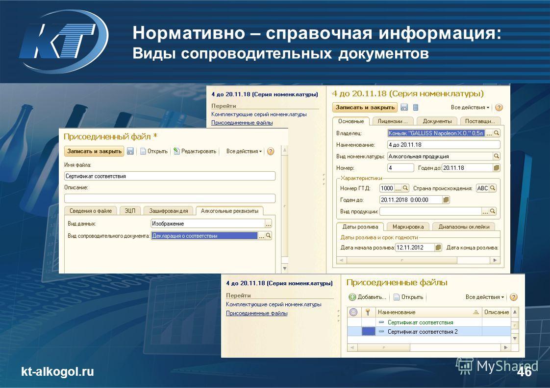 Нормативно – справочная информация: Виды сопроводительных документов kt-alkogol.ru 46