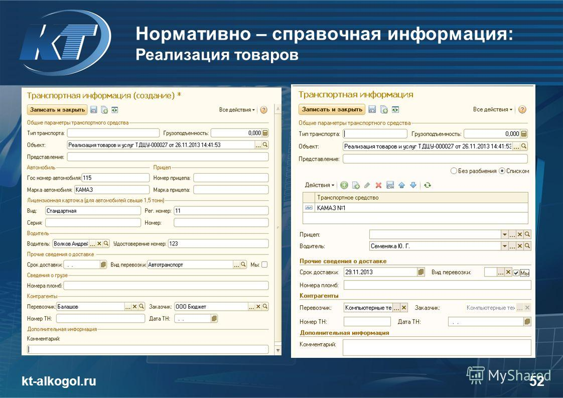 Нормативно – справочная информация: Реализация товаров kt-alkogol.ru 52