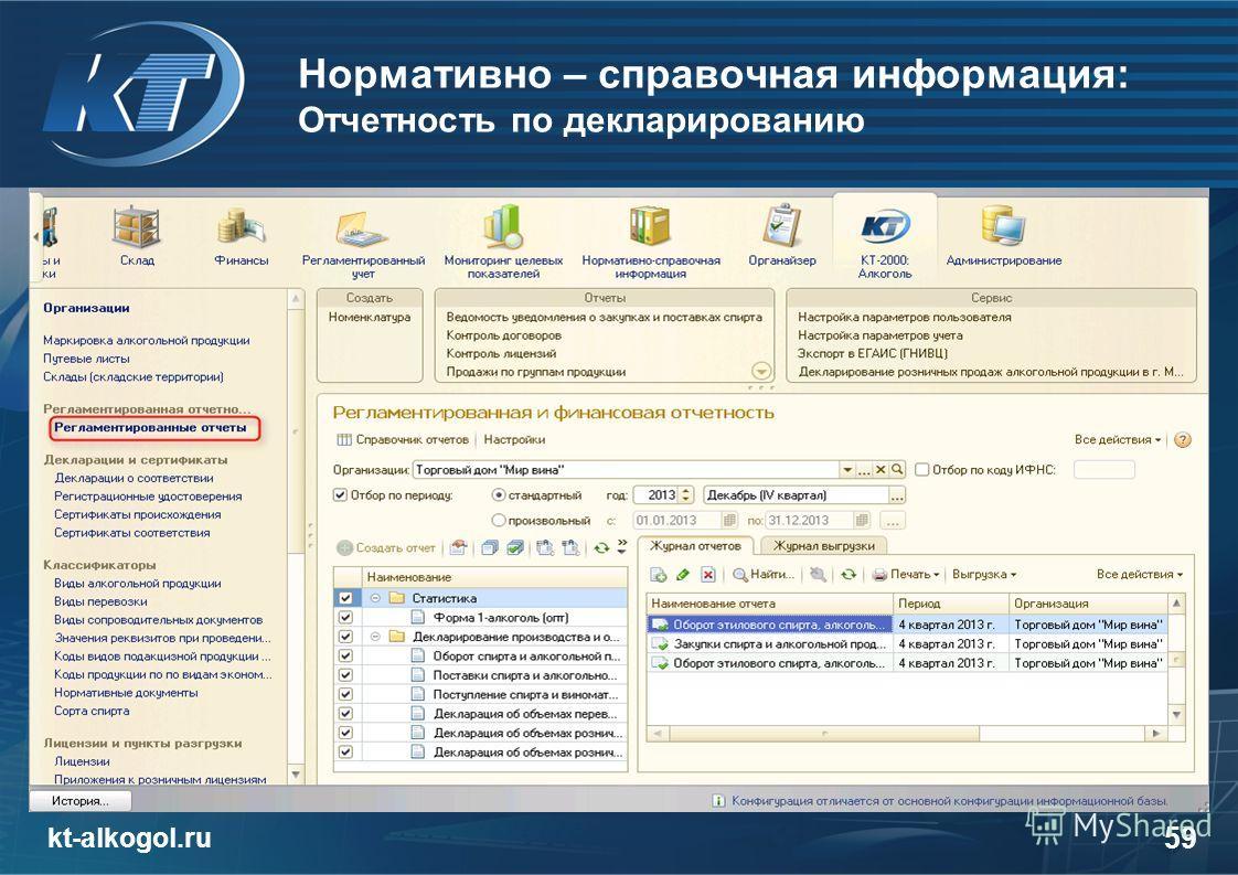 Нормативно – справочная информация: Отчетность по декларированию kt-alkogol.ru 59