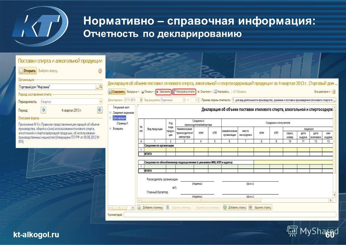 Нормативно – справочная информация: Отчетность по декларированию kt-alkogol.ru 60