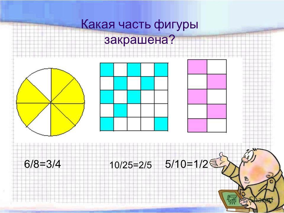 Какая часть фигуры закрашена? 6/8=3/4 10/25=2/5 5/10=1/2