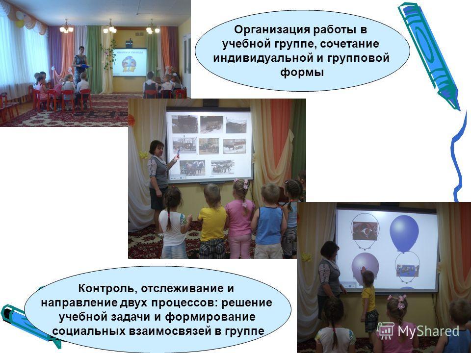 Контроль, отслеживание и направление двух процессов: решение учебной задачи и формирование социальных взаимосвязей в группе Организация работы в учебной группе, сочетание индивидуальной и групповой формы