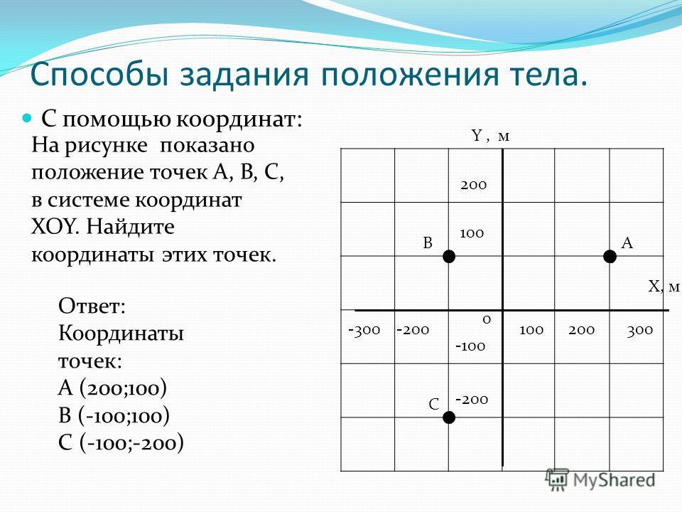 Способы задания положения тела. С помощью координат: АВ С Y, м 200 100 0 -100 -200 200300 X, м -200-300 На рисунке показано положение точек А, В, С, в системе координат XOY. Найдите координаты этих точек. Ответ: Координаты точек: А (200;100) В (-100;