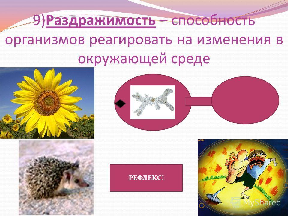 9)Раздражимость – способность организмов реагировать на изменения в окружающей среде РЕФЛЕКС!