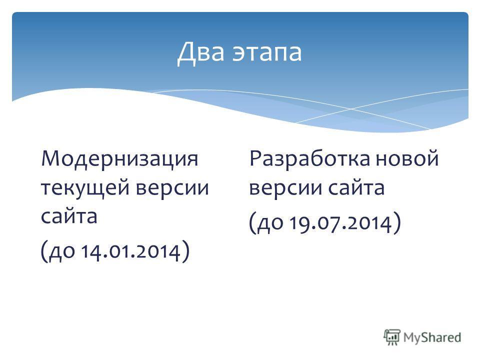 Два этапа Модернизация текущей версии сайта (до 14.01.2014) Разработка новой версии сайта (до 19.07.2014)