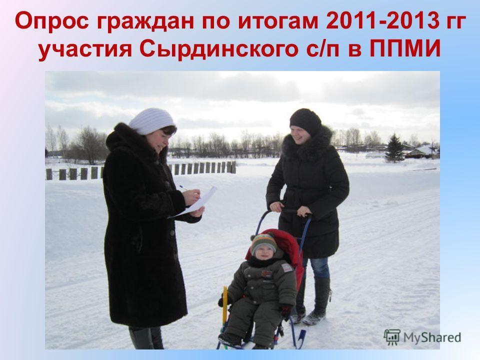Опрос граждан по итогам 2011-2013 гг участия Сырдинского с/п в ППМИ