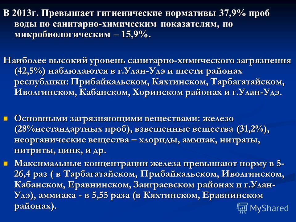 В 2013г. Превышает гигиенические нормативы 37,9% проб воды по санитарно-химическим показателям, по микробиологическим – 15,9%. Наиболее высокий уровень санитарно-химического загрязнения (42,5%) наблюдаются в г.Улан-Удэ и шести районах республики: При