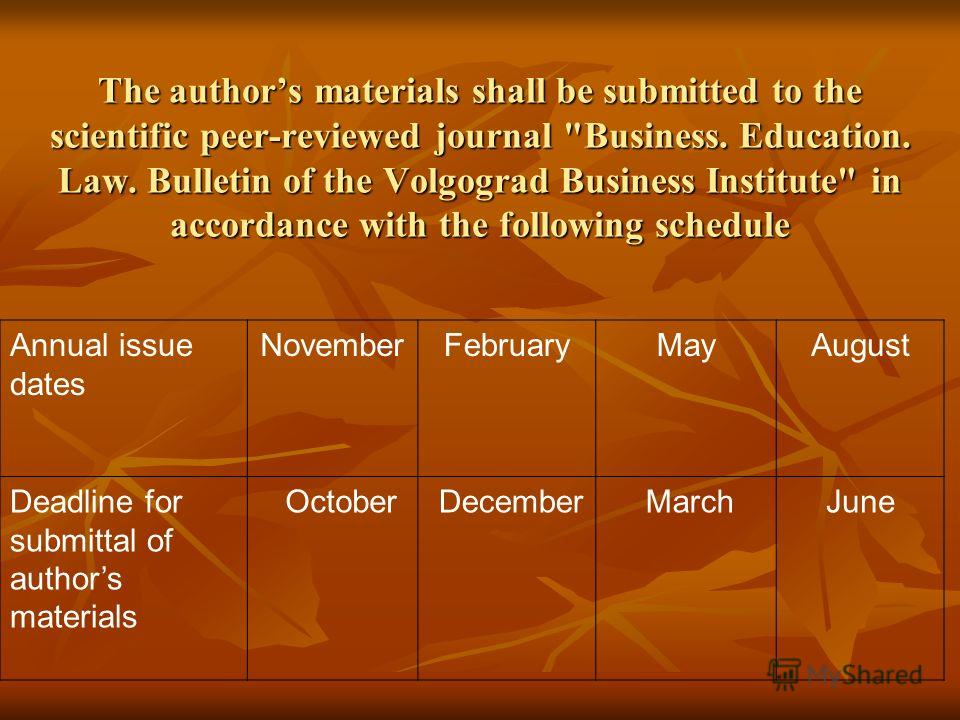 The authors materials shall be submitted to the scientific peer-reviewed journal