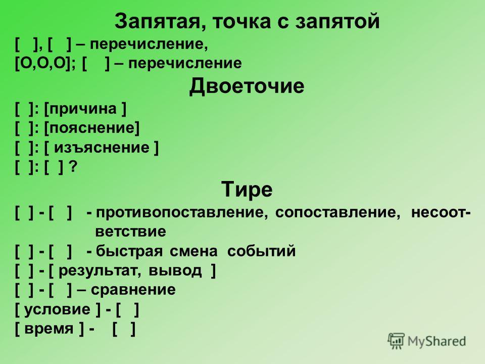Запятая, точка с запятой [ ], [ ] – перечисление, [O,O,O]; [ ] – перечисление Двоеточие [ ]: [причина ] [ ]: [пояснение] [ ]: [ изъяснение ] [ ]: [ ] ? Тире [ ] - [ ] - противопоставление, сопоставление, несоот- ветствие [ ] - [ ] - быстрая смена соб