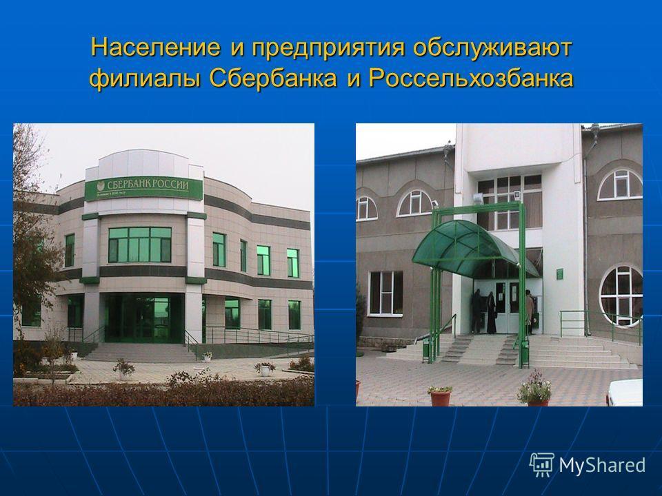 Население и предприятия обслуживают филиалы Сбербанка и Россельхозбанка