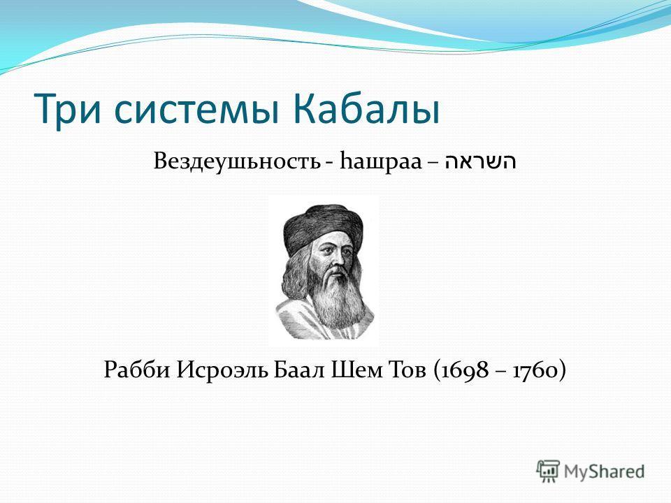 Три системы Кабалы Вездеушьность - hашраа – השראה Рабби Исроэль Баал Шем Тов (1698 – 1760)