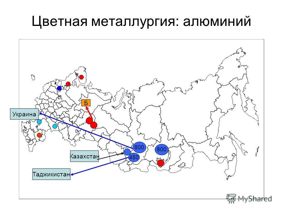 Цветная металлургия: алюминий 800 450 800 Казахстан Украина Таджикистан Б