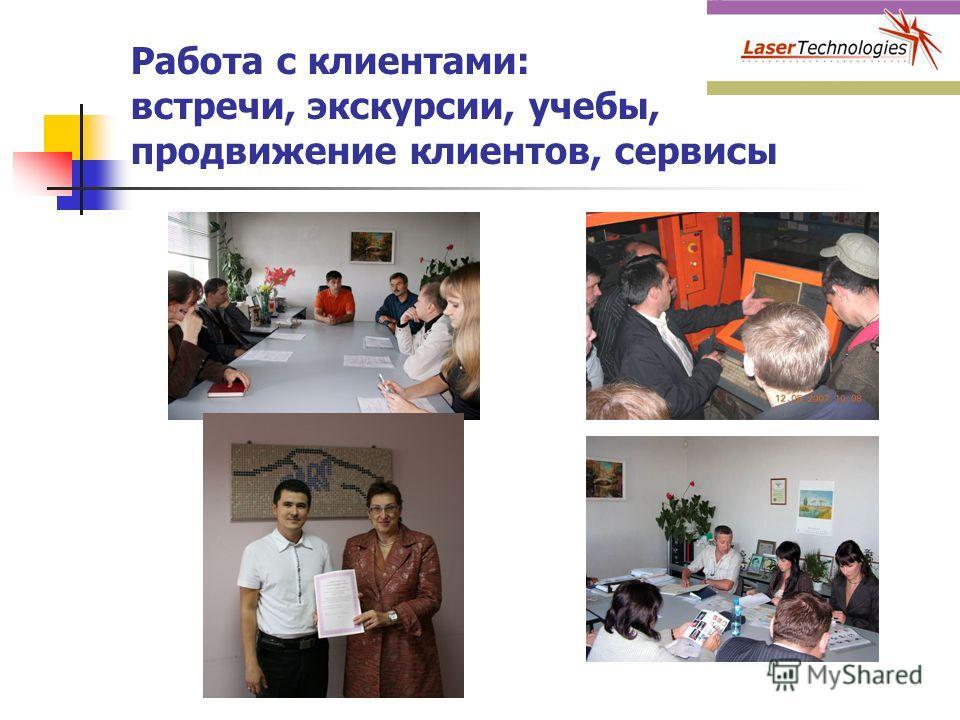 Работа с клиентами: встречи, экскурсии, учебы, продвижение клиентов, сервисы