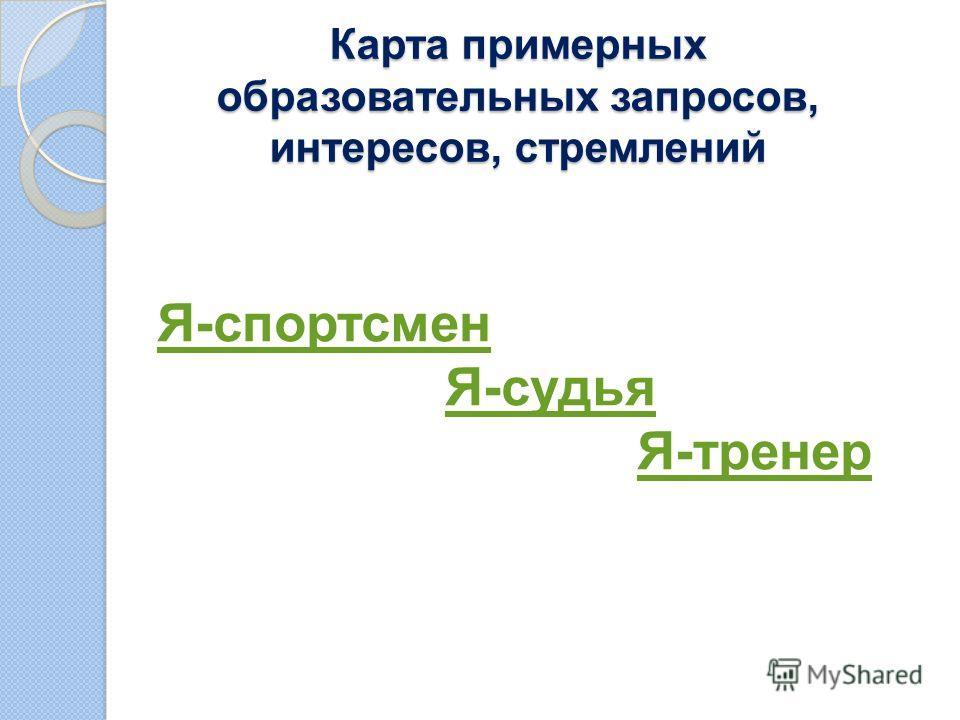 Карта примерных образовательных запросов, интересов, стремлений Я-спортсмен Я-судья Я-тренер