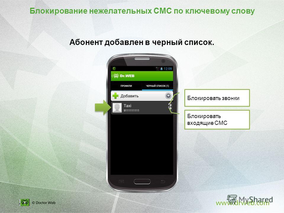 Абонент добавлен в черный список. Блокировать звонки Блокировать входящие СМС Блокирование нежелательных СМС по ключевому слову