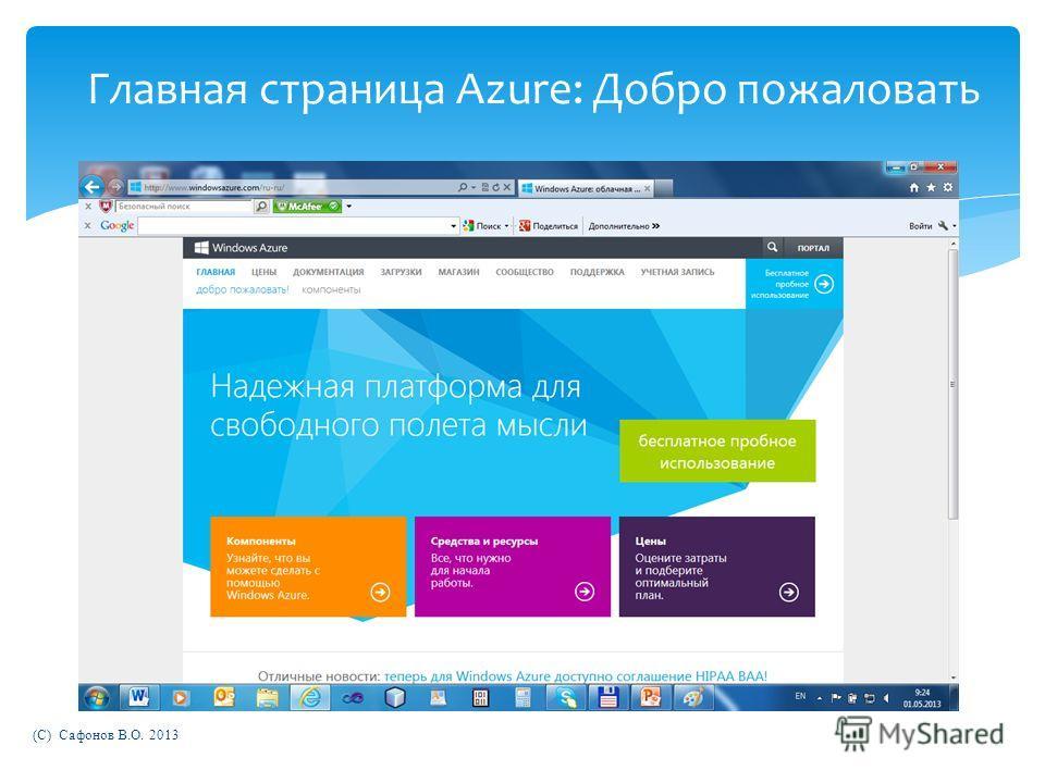 (C) Сафонов В.О. 2013 Главная страница Azure: Добро пожаловать