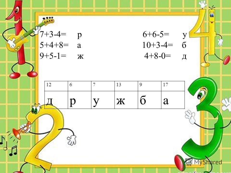 126713917 дружба 7+3-4= р 6+6-5= у 5+4+8= а 10+3-4= б 9+5-1= ж 4+8-0= д