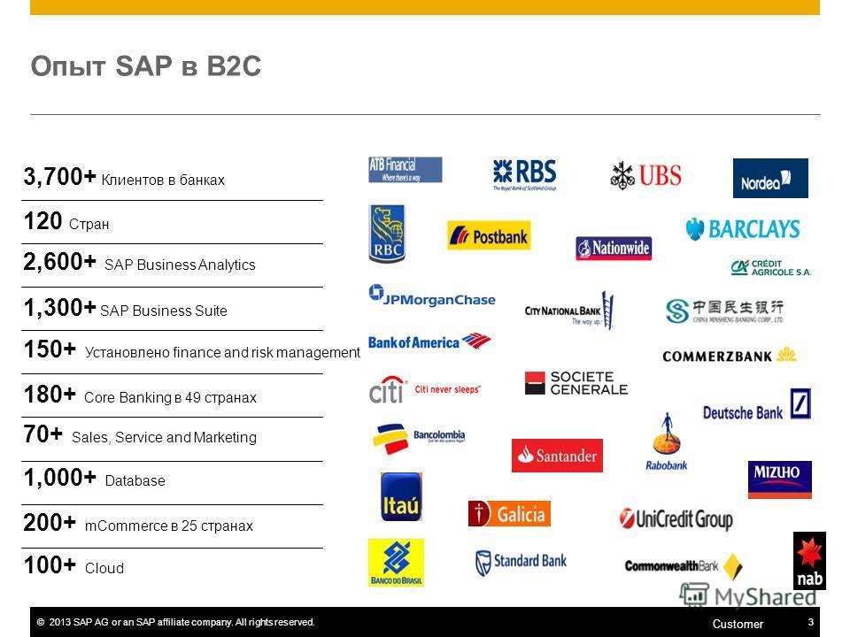 ©2013 SAP AG or an SAP affiliate company. All rights reserved.3 Customer Опыт SAP в B2C 3,700+ Клиентов в банках 120 Стран 2,600+ SAP Business Analytics 1,300+ SAP Business Suite 150+ Установлено finance and risk management 180+ Core Banking в 49 стр