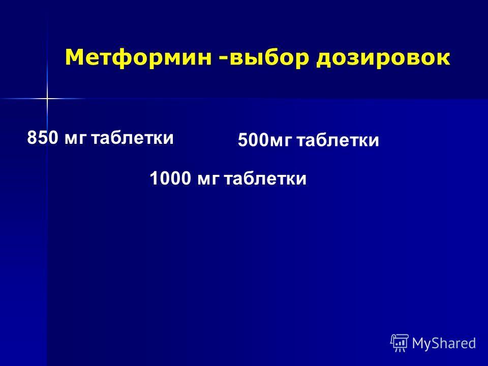 Метформин -выбор дозировок 500мг таблетки 850 мг таблетки 1000 мг таблетки