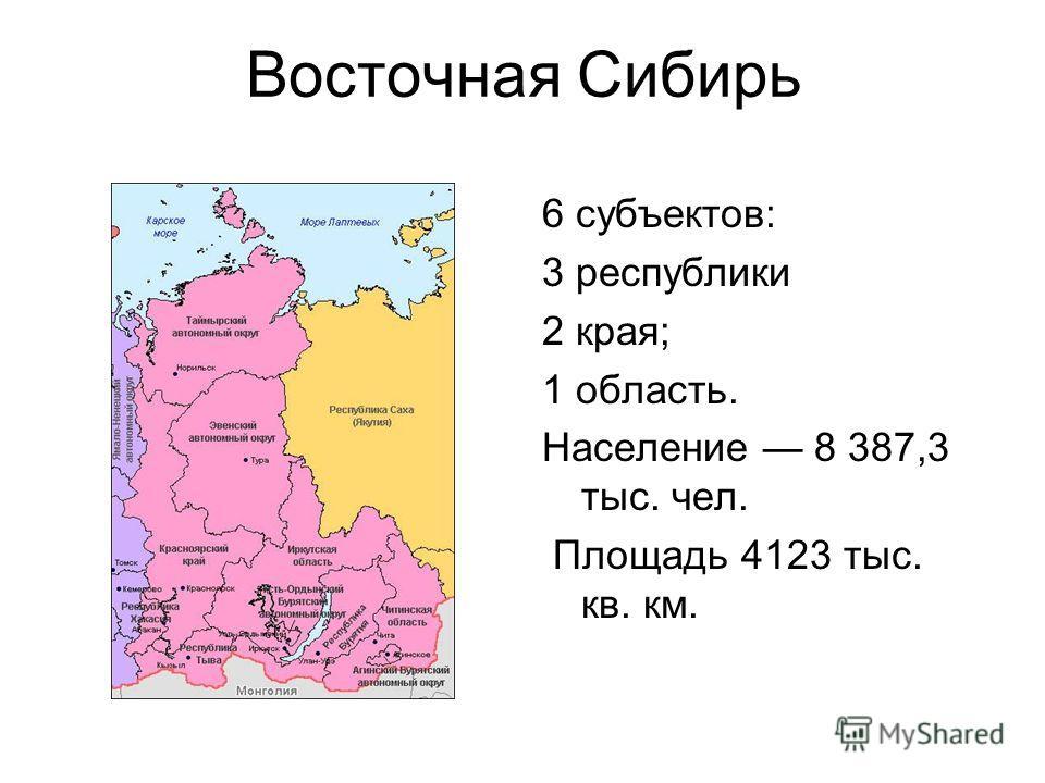 Восточная Сибирь 6 субъектов: 3 республики 2 края; 1 область. Население 8 387,3 тыс. чел. Площадь 4123 тыс. кв. км.