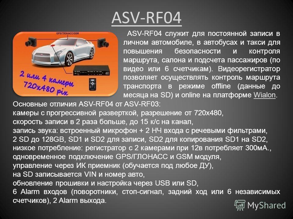 ASV-RF04 ASV-RF04 служит для постоянной записи в личном автомобиле, в автобусах и такси для повышения безопасности и контроля маршрута, салона и подсчета пассажиров (по видео или 6 счетчикам). Видеорегистратор позволяет осуществлять контроль маршрута