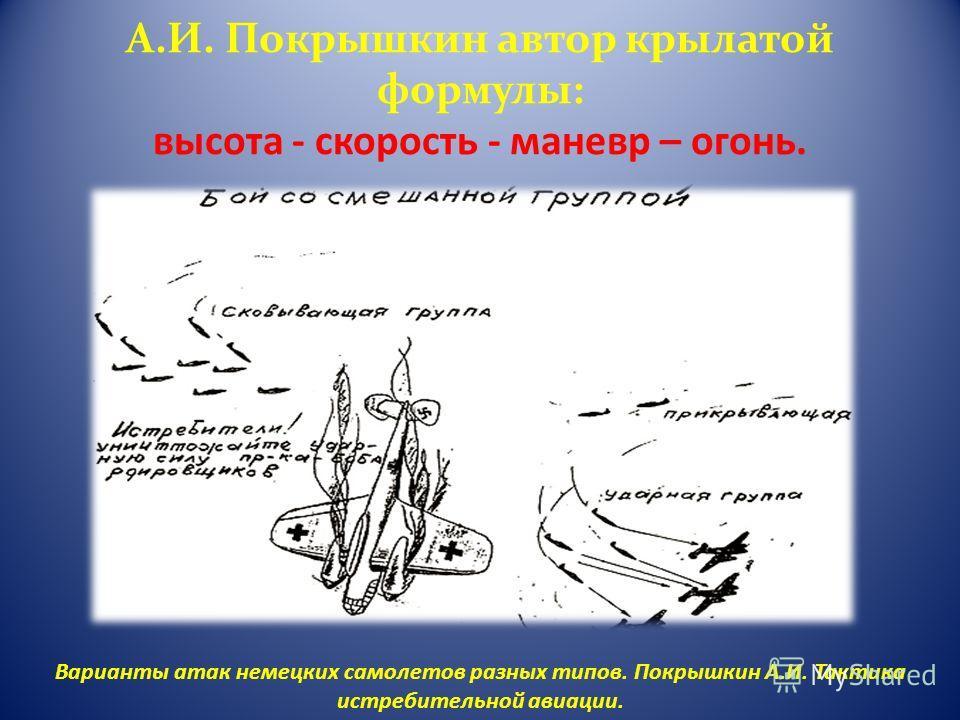 А.И. Покрышкин автор крылатой формулы: высота - скорость - маневр – огонь. Варианты атак немецких самолетов разных типов. Покрышкин А.И. Тактика истребительной авиации.
