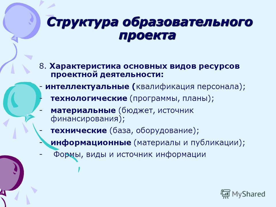 8. Характеристика основных видов ресурсов проектной деятельности: - интеллектуальные (квалификация персонала); -технологические (программы, планы); -материальные (бюджет, источник финансирования); -технические (база, оборудование); -информационные (м
