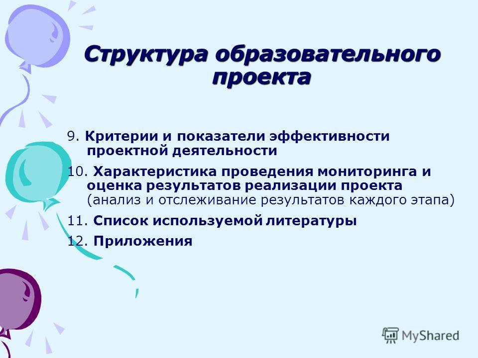 9. Критерии и показатели эффективности проектной деятельности 10. Характеристика проведения мониторинга и оценка результатов реализации проекта (анализ и отслеживание результатов каждого этапа) 11. Список используемой литературы 12. Приложения Структ