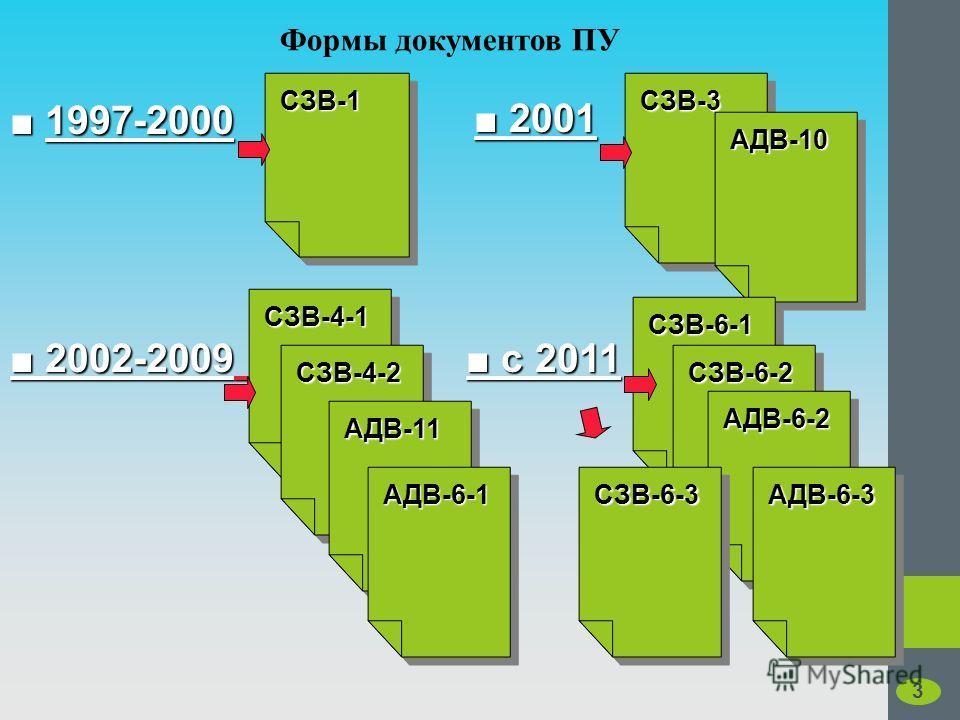 Формы документов ПУ 1997-2000 2001 2001 2002-2009 2002-2009 с 2011 с 2011, СЗВ-1СЗВ-1 СЗВ-4-1СЗВ-4-1 СЗВ-3СЗВ-3 АДВ-10АДВ-10 СЗВ-4-2СЗВ-4-2 АДВ-11АДВ-11 АДВ-6-1АДВ-6-1 СЗВ-6-1СЗВ-6-1 СЗВ-6-2СЗВ-6-2 АДВ-6-2АДВ-6-2 АДВ-6-3АДВ-6-3СЗВ-6-3СЗВ-6-3 3