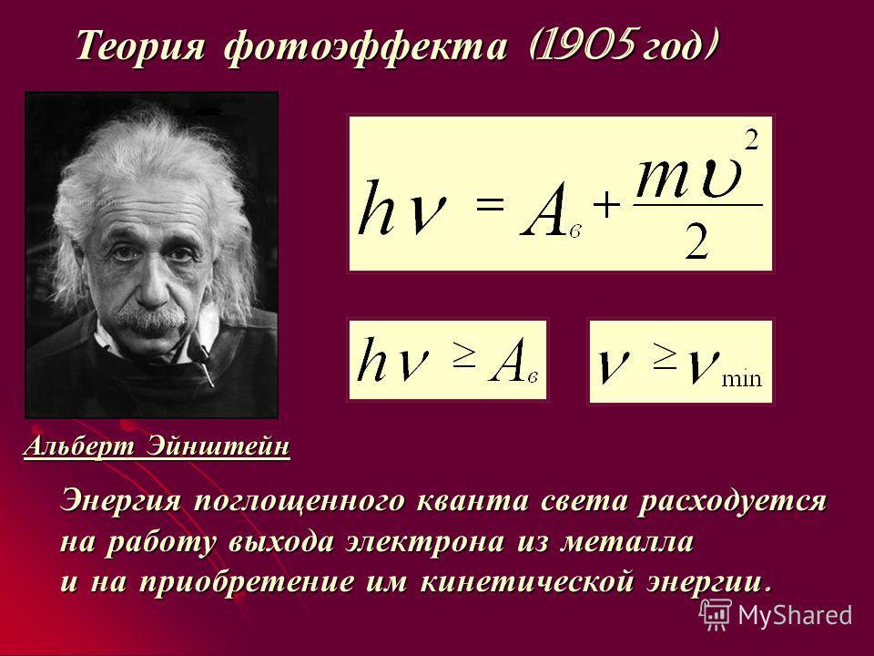 Теория фотоэффекта (1905 год ) Альберт Эйнштейн Энергия поглощенного кванта света расходуется на работу выхода электрона из металла и на приобретение им кинетической энергии.