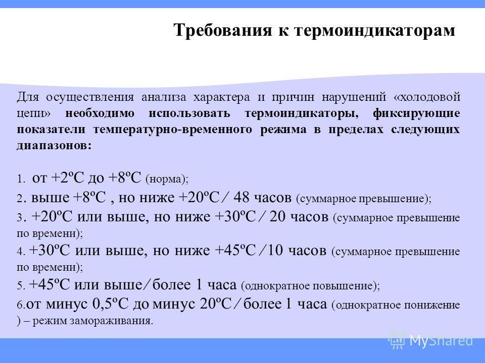 Требования к термоиндикаторам Для осуществления анализа характера и причин нарушений «холодовой цепи» необходимо использовать термоиндикаторы, фиксирующие показатели температурно-временного режима в пределах следующих диапазонов: 1. от +2ºС до +8ºС (